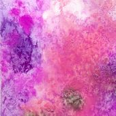Abstract watercolor background. Painted paper. Bright color splashes in pink, green, purple. Grunge texture