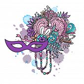 Carnival elements. Mask, feathers, beads, flowers. Watercolor blots and stains in background