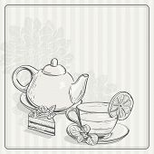Vintage Background With Tea And The Torus