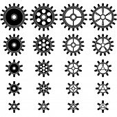 Gear wheels shapes of different sizes vector shapes isolated on white background.