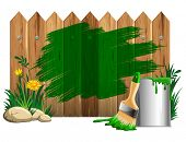 Vector background of thick green paint smears on wooden fence, bucket of paint and brush. Isolated on white.