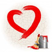 Painted on a stone wall red heart shape, bucket of paint and brush. Vector illustration.