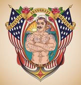 Old-school patriot tattoo of a handsome sailor on the background of USA flags wrapped in a banner. Raster image.