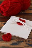 Saint Valentine's Day Handmade Greetings Card With Red Crochet Heart