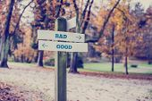 Rustic Wooden Sign In An Autumn Park With The Words Bad - Good
