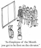 foto of employee month  - As Employee of the Month the businesswoman gets to be the first on the elevator - JPG