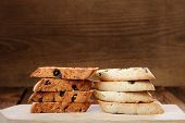 Italian Biscotti In Two Piles With Space
