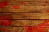 Love heart pattern against overhead of wooden planks