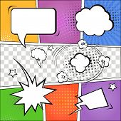 Comic speech bubbles and comic strip on colorful halftone background vector illustration