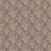 Seamless brown bell-flower floral vector wallpaper pattern.