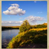 pic of steppes  - rural landscape steppe river and clouds on the sky background - JPG