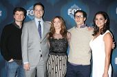 LOS ANGELES - JAN 17:  Mike Schur, Dan Goor, Chelsea Peretti, Andy Samburg, Melissa Fumero at the FOX TCA Winter 2015 at a The Langham Huntington Hotel on January 17, 2015 in Pasadena, CA