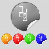 Synchronization Sign Icon. Communicators Sync Symbol. Data Exchange. Set Colur Buttons. Vector