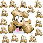 Ginger Cartoon With Funny Face On White Background