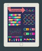 Infographics Concept on a white Tablet PC. Template elements for web and mobile applications. Vector