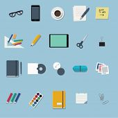 office supplies and stationery - flat design icons set