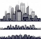 vector city skyline icons set on white