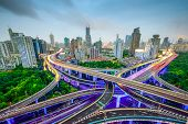 Shanghai, China aerial view and skyline over highways.