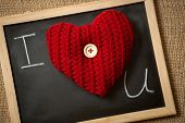 Declaration Of Love On Blackboard With Red Knitted Heart