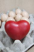 Heart And Eggs On Paper Pattern Wood