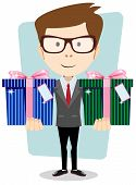 Young successful businessman gives two gifts, vector illustration