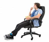 Lazy Man Sitting In Armchair Eating Pop Corn, Isolated Over White