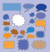 chat, speech, bubbles icons, signs, vector illustrations