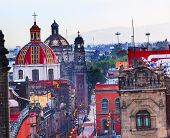 Zocalo Churches Domes Mexico City