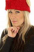 Blond Woman Elf Hat Close Look Hand Under Chin