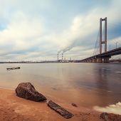 South Bridge at sunrise on the Dnieper River Kiev Ukraine