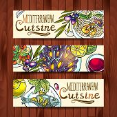banners with mediterranean food