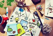 Responsive Design Internet Web Online Office Desk Concept