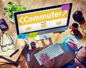 pic of commutator  - Digital Online Commuter Travel Transportation Office Browsing Concept - JPG