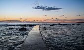 stock photo of leghorn  - Panoramic sunset on the Tuscany sea in front of Leghorn