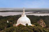 Top view of a stupa Maha Saya Dagoba, Buddhist complex Amvastala and surroundings