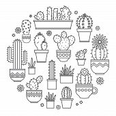 linear design, potted cactus. elements of a corporate logo. Vector