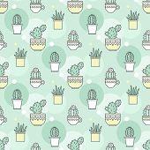 pattern of cacti. Linear illustration. vector