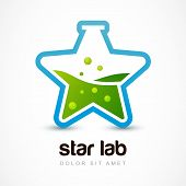 Star Shaped Flask With Liquid, Lab Icon. Vector Logo Design Template