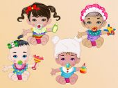 Cute Babys Holding Toys In Hand and Hair Accessories