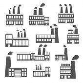 Set of black-white factory icons