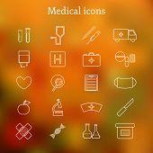 Set of thin medical icons