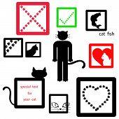 Cat Icon Symbol Set Isolated On White Background, Vector