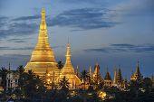 stock photo of yangon  - Shwedagon pagoda on sunset in Yangon Myanmar  - JPG