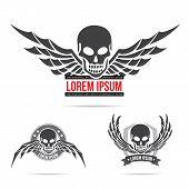 Skeleton Skull With Wing Logo Emblem Vector Illustration Element 001