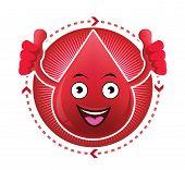 Cartoon smiling blood icon