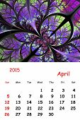 2015. April. Calendar With Beautiful Fractal Pattern.