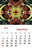 2015. September. Calendar With Beautiful Fractal Pattern.