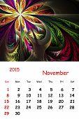 2015. November. Calendar With Beautiful Fractal Pattern.