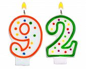Birthday Candles Number Ninety Two