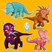 stock photo of prehistoric animal  - Illustration of Herbivorous Ceratopsid Dinosaurs Sticker collection set contains triceratops - JPG